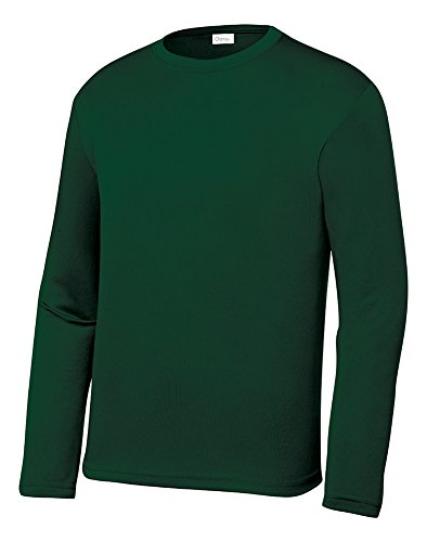 (Opna Youth Athletic Performance Long Sleeve Shirts for Boys or Girls Moisture Wicking, Forest Green, XSmall)