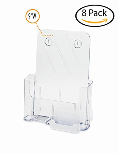 Source One Large Brochure Holder 8.5 x 11 Inches with Business Card Holder (8 Pack, White)