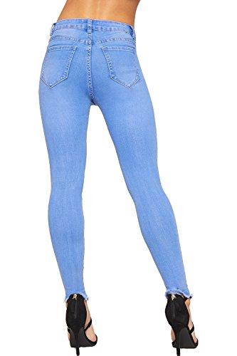 34 WEARALL Jeans De Maigre Femmes Stonewashed Jean Toile 42 Jambe Dames Bleu Afflig Pantalon Cheville Dchirs WOv1WA
