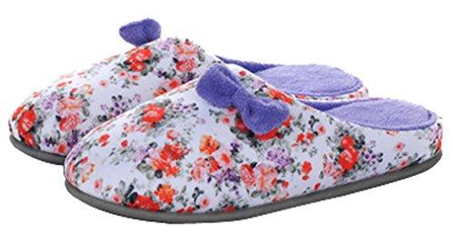 Pantofole Da Casa Pantofole Da Donna Floreali In Cotone Blubi Viola