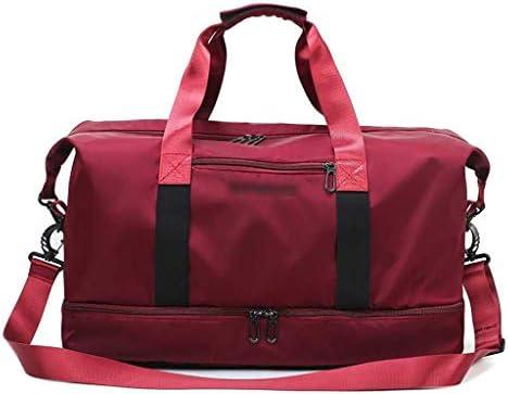 多機能ポータブルゴルフの服バッグアウトドアスポーツやフィットネスのバックパック大容量の週末旅行のストレージバッグユニセックススタイル独立シューズ防水 HMMSP (Color : Red)