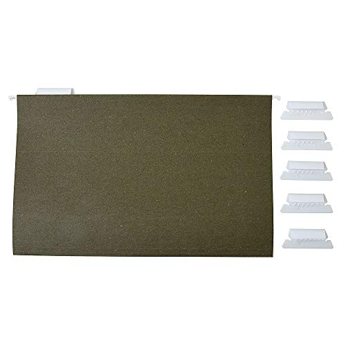 Staples 116830 Hanging File Folders 5-Tab Legal Size Standard Green 25/Bx (116830) ()