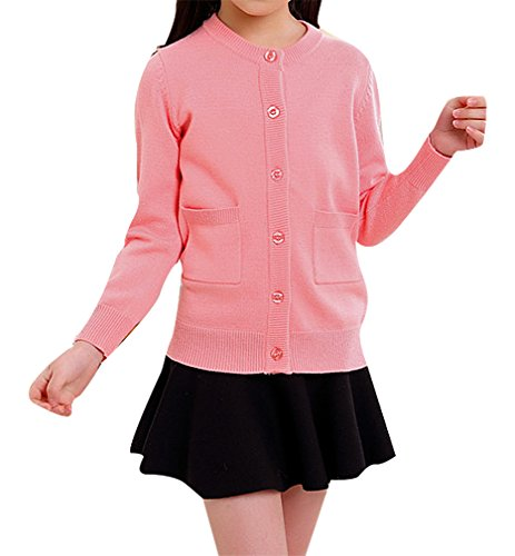BPrincess Girl Bow Tie Applique Round Neck Dot Knitted Buttoned Wool Cardigan, Pink2 -