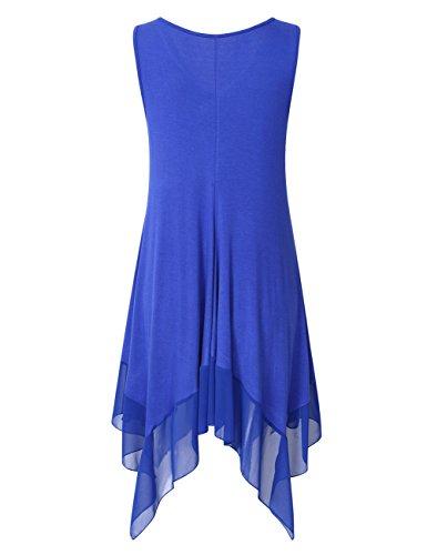 Mesdames rmellos Dunkelblau Top en Oversize Casual T Mousseline Asymtrique Tunique Plus de Longshirt Casual Blouse Shirt Soie Taille KoJooin UxTwRqadU