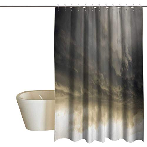 - Suchashome Apartment Decor Bathroom Shower Curtain Heavy Storm Clouds in Dark Sky Hurricane Weather Cloudscape Mass of Liquid Droplets Image 100% Waterproof & Antibacterial 55