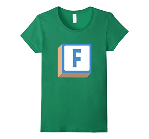 Womens F Alphabet Block Halloween Group Costume T-Shirt XL Kelly Green - Alphabet Costumes Ideas