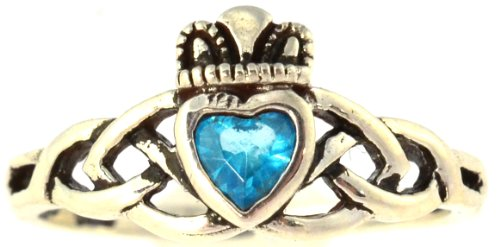 .925 Sterling Silver Traditional Celtic Knot .25 Carat Blue Topaz Cubic Zirconia Claddagh Ring, Size 8