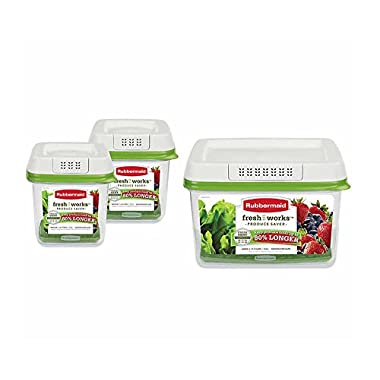Rubbermaid FreshWorks Produce Saver 3-piece Set 2 x Medium, 1 x Large