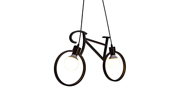 Allabcd Lámpara Colgante de Hierro Industrial, 2-Luminoso de la Vendimia de la Bicicleta de la lámpara, el Arte Interior del Accesorio Ligero de la lámpara Colgante para el Restaurante Loft: Amazon.es: Hogar