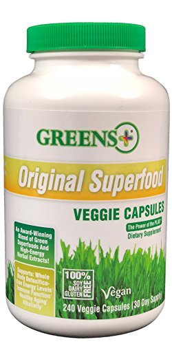 - Greens+ Original Green Superfood Veggie Capsules | Vegan | Soy, Dairy and Gluten Free | Blend of Green Superfoods and High Energy Herbal Extracts | Dietary Supplement | 240 Veggie Capsules