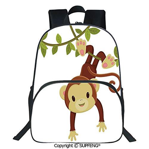 SCOXIXI School Back Cute Cartoon Monkey Hanging on Liana Playful Safari Character Cartoon Mascot (15.75