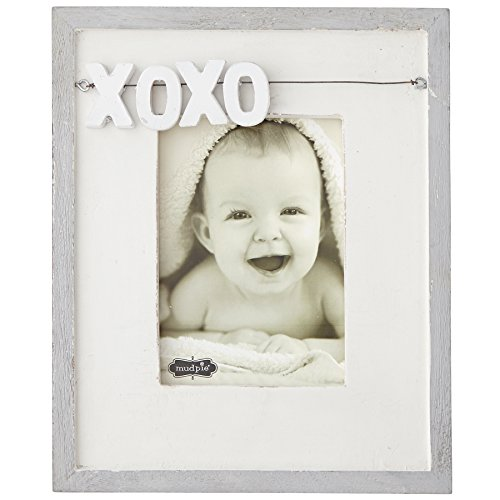 Mud Pie XOXO Distressed White Wood Picture Frame, 5