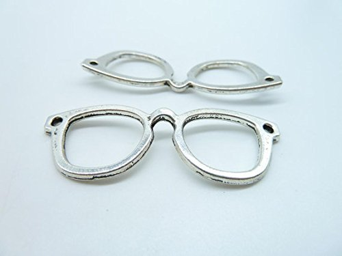 10pcs 20x57mm Antique Silver Lovely Filigree Eyeglasses Charms Pendant - Definition Eyeglasses