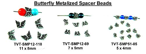 (PlanetZia Metalized Butterfly Spacer Beads - Choose From 4 Sizes TVT-BMSB (5x4mm)