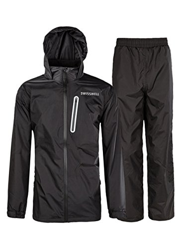 SWISSWELL Mens Waterproof Rainsuit Hood Black (Golf Rainsuit)