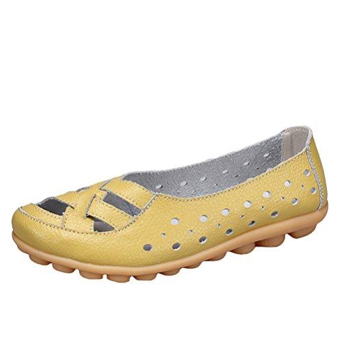 Vogstyle Damen Neu Hohl Mokassins Flach Loafer Slipper Schuhe Style 2-Hellgrün