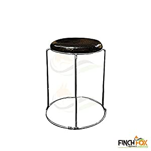 Finch Fox Chrome Finish Metal Stool for Restaurant/Bar (Black)