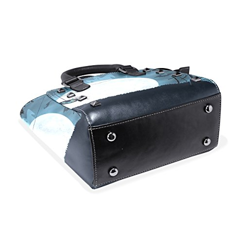 Blue Handbags Halloween Tote Spider Scary Shoulder Leather Bags Bat TIZORAX Women's dqCXHd