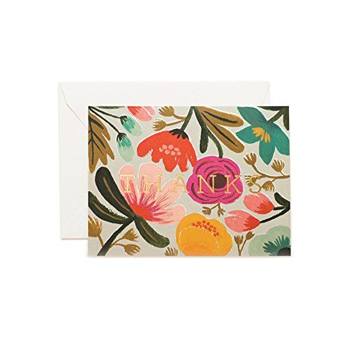 UPC 711508062284, Gold Floral Thank You Note Cards by Rifle Paper Co. -- Set of 8 Cards and Envelopes