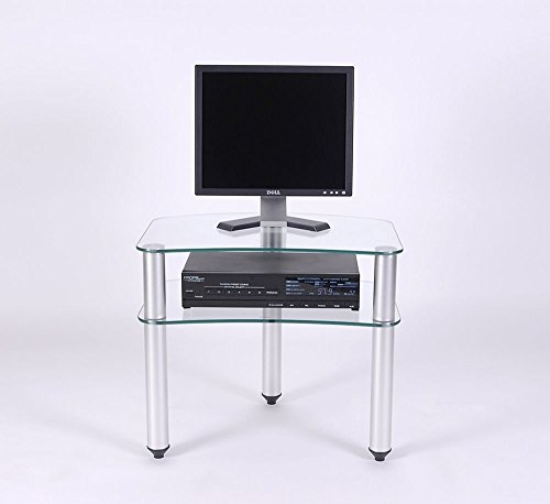 RTA Home and Office TV-001 Glass and Aluminum Plasma LCD Tv Stand for A 24 and Below Tv
