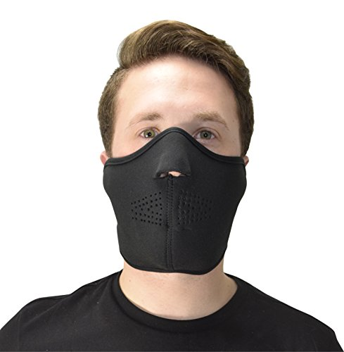 Balaclava Black Fleece Velcro Closure (Peach Couture Cold Weather Thermal Face Protection Neoprene Mask)