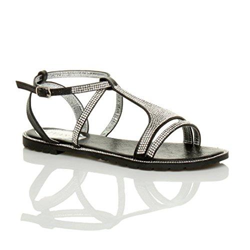 Ajvani Women's Flat Strappy T-Bar Summer Evening Diamante Sandals Size 8 39 (T-bar Flat Sandal)