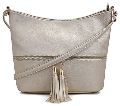 DELUXITY Medium Size Hobo Crossbody Bag with Tassel/Zipper A