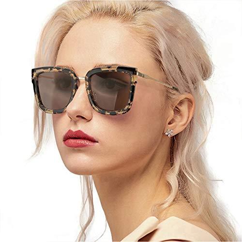 Myiaur Stylish Cateye Sunglasses Women Polarized Glasses UV400 Protection (Tortoiseshell Frame Brown Polarized Len Sunglasses)