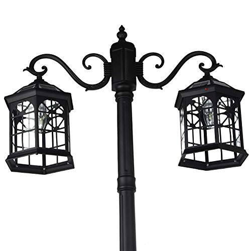 Kendal 8 Feet High Outdoor Solar Lamp Post Light with Two Heads and LED Lights SL-3801black2.45M by Kendal (Image #2)