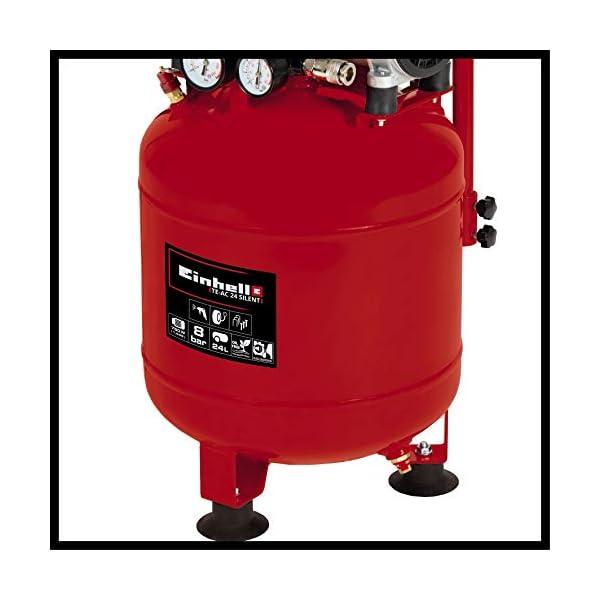 Einhell Compresor TE-AC 24 Silent (compresor silencioso con 750 W, máx. 8 bar, motor exento de aceite y servicio…