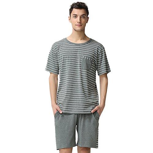 Suntasty Men's Summer Sleepwear Striped Short Sleeve Pajama Shorts and Top Set(Grey,L,1001M)