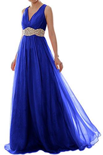 Formal Royal Women Chiffon Wedding MACloth Ball Long Neck Dress Prom V Gown Blue Straps wd7dnqpzZ