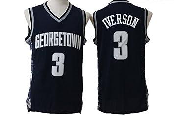 size 40 1e980 83651 Men's Allen Iverson #3 Georgetown Hoyas College Jersey ...