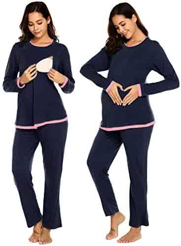 752bc96cac649 Romanstii Women Modal Maternity & Nursing Pajamas Set for Breastfeeding(with  Hidden Maternity Flexi Belt