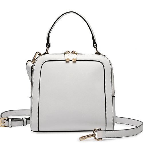 Removable Handle Shell Strap Bag Messenger Women Kadell Top White Color With Pure Leather RfHFxwqw8