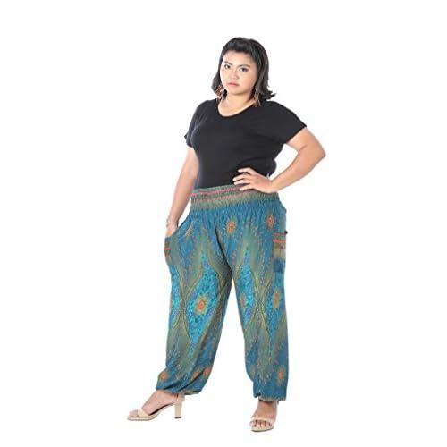 174ac28e84 best CandyHusky Peacock Eye Baggy Genie Gypsy Hippie Boho Yoga Harem Pants  Plus Size