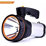 CSNDICE LED Rechargeable Handheld Searchlight High-power Super Bright 9000mah 6000 Lumens USB Power Bank Rechargeable flashlights IPX4 Waterproof Searchlight Portable Handheld Multi (Silver)