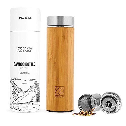 Bamboo Vacuum Insulated Bottle - Thermo with Tea Infuser & Strainer   BPA Free Stainless Steel Tumbler, Fruit Infuser   Double Walled Tumbler Water Bottle   Travel Mug