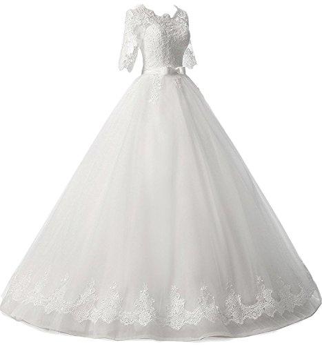 Robe De Bal Xingmeng Longues Robes De Mariée Demi Manches D'ivoire De Appliques Robes De Mariée