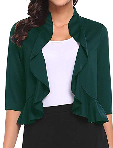 Women's Open Front Cropped Cardigan 3/4 Sleeve Casual Shrugs Jacket Draped Ruffles Lightweight Sweaters (Green, -