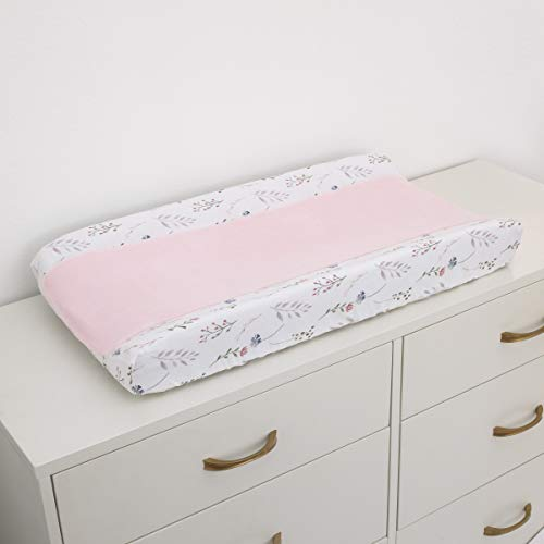 NoJo Woodland Wreath Soft Plush Coral Fleece Changing Pad Cover, Pink/White/Blue/Green