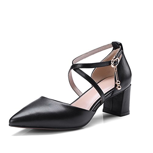 AdeeSu Womens Sandals Closed-Toe Buckle High-Heel Solid Cold Lining Smooth Leather Pointed-Toe Huarache Urethane Sandals SLC03552 Black