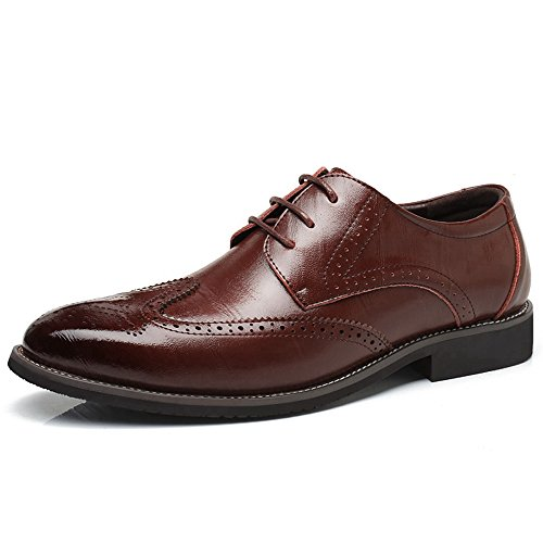 Modern Brown LAN Classic Formal Wingtip Shoes Mens Up Oxfords Captoe Dark Prince Lace Dress Leather YING T1XWAqnFF