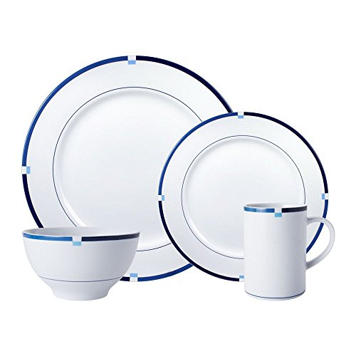 Mikasa Jet Set Blue 48 Piece Dinnerware Set, Service for 12