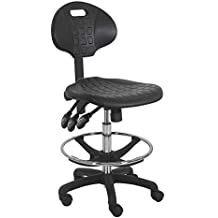 """Bench Pro BenchPro Deluxe Polyurethane Chair with Nylon Base and 20"""" HD Adjustable Footing, 21""""-31"""" Height Adjustment, 3 Lever Control, 450 lbs Capacity, Black and Chrome"""