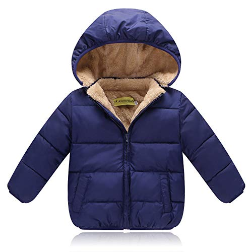 ALLAIBB Unisex Little Kids Winter Warm Jacket Padded Velvet Lining Thick Puffer Outwear Size 120 (Dark Blue) by ALLAIBB (Image #5)