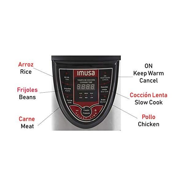 IMUSA USA 5Qt Electric Stainless Steel 5-Qt. Bilingual Digital Pressure Cooker, Red (Insta-Pot) 3