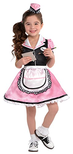 [Little Girls Dinah Girl 50's Sock Hop Waitress Costume (Girls SM (4-6))] (Diner Waitress Costumes)