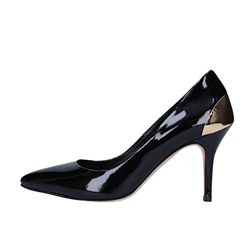 Broccoli Zapatos de Salón Mujer Negro/Rojo/Beige Charol Metal (37 EU, Negro)