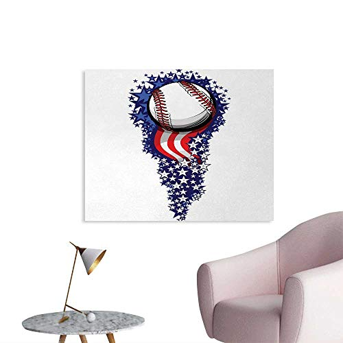 Tudouhoho Sports Poster Paper Stars and Stripes Fireworks Patriot Baseball Celebration Holiday Flag Graphic Photographic Wallpaper Purple Red White W36 xL24